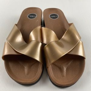 Brown & Gold Flat Slip On Slide Sandals Size 7